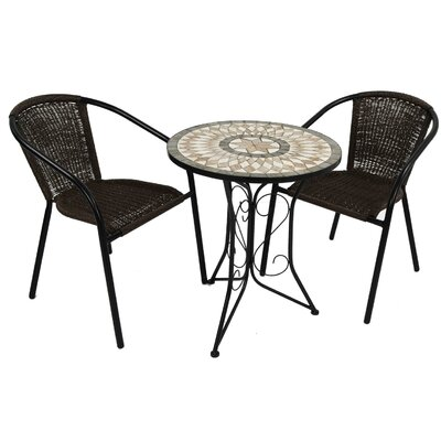 2-Sitzer Balkonset Brava | Garten > Balkon > Balkon-Sets | Schwarzbraun | Rattan - Polyrattan | Caracella