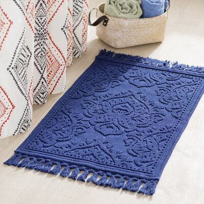Garceau Cotton Fringe Bath Rug Color: Indigo, Size: 21 W x 34 L
