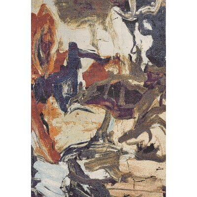 Forbis Brushstrokes Orange/Cream Area Rug Rug Size: Rectangle 910 x 132