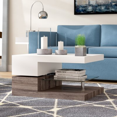 Delwood Coffee Table Color: High Gloss White and Sonoma Oak