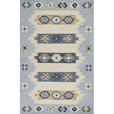 Crume Hand-Tufted Wool Ivory/Blue Area Rug Rug Size: Rectangle 5 x 76