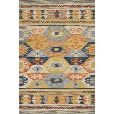 Crume Hand-Tufted Wool Gray/Blue/Orange Area Rug Rug Size: Rectangle 33 x 53