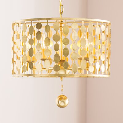 Charlesworth 5-Light Drum Pendant Finish: Antique Gold