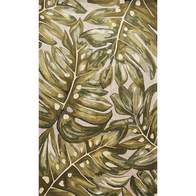 Springwater Palms Hand-Tufted Wool Green Area Rug Rug Size: Round 56