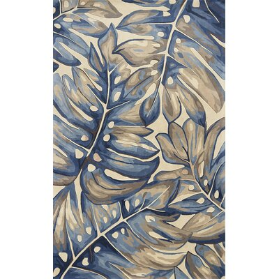 Springwater Palms Hand-Tufted Wool Blue Area Rug Rug Size: Rectangle 79 x 106
