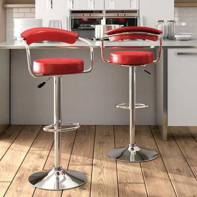 Morley Adjustable Height Swivel Low Back Bar Stool Upholstery: Red