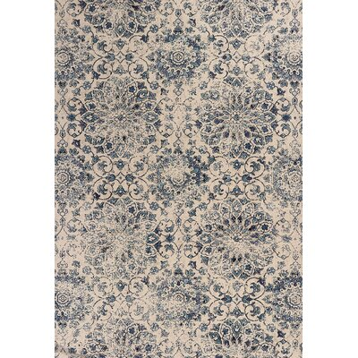 Crozier Mosaic Ivory/Blue Area Rug Rug Size: Rectangle 53 x 77