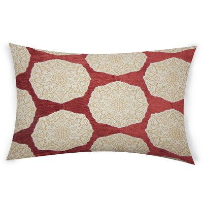 Erazo Cotton Lumbar Pillow Color: Red