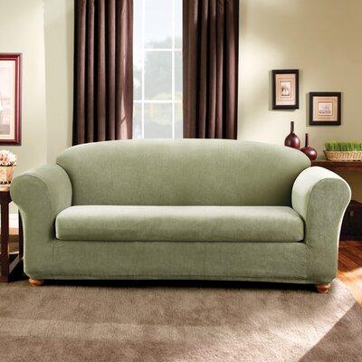 Stretch Madison Box Cushion Sofa Slipcover Upholstery: Sage