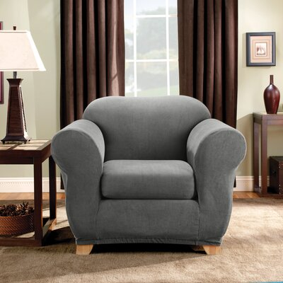 Stretch Madison Box Cushion Armchair Slipcover Upholstery: Gray