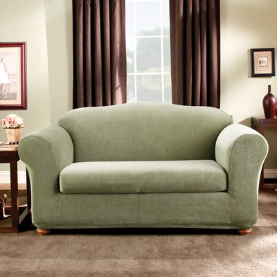 Stretch Madison Box Cushion Loveseat Slipcover Upholstery: Sage
