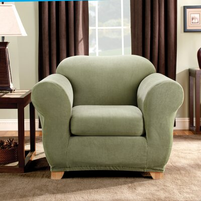 Stretch Madison Box Cushion Armchair Slipcover Upholstery: Sage