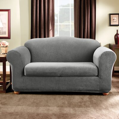 Stretch Madison Box Cushion Loveseat Slipcover Upholstery: Gray
