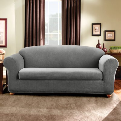 Stretch Madison Box Cushion Sofa Slipcover Upholstery: Gray