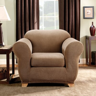 Stretch Madison Box Cushion Armchair Slipcover Upholstery: Brown