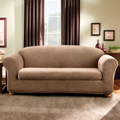Stretch Madison Box Cushion Sofa Slipcover Upholstery: Brown