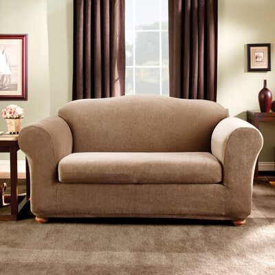 Stretch Madison Box Cushion Loveseat Slipcover Upholstery: Brown