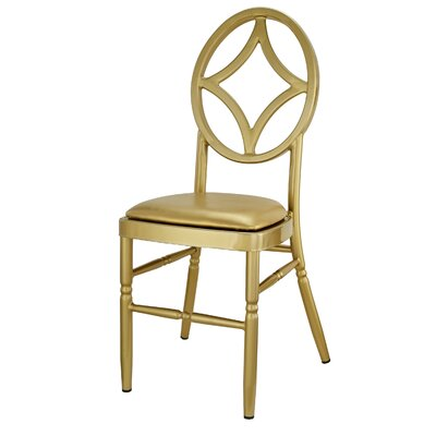 Kuntz Velika Series Stackable Diamond Aluminum Dining Chair Color: Gold