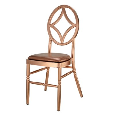 Kuntz Velika Series Stackable Diamond Aluminum Dining Chair Color: Rose Gold