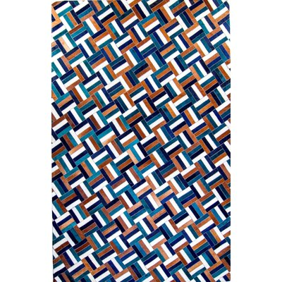 One-of-a-Kind Hortense Hand-Woven Cowhide Teal/Blue Area Rug Rug Size: Rectangle 10 x 14