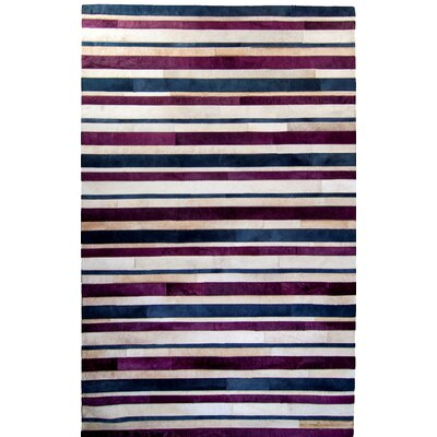 One-of-a-Kind Housman Hand-Woven Cowhide Purple/Blue Area Rug Rug Size: Rectangle 6 x 9