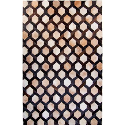 One-of-a-Kind Houghton Hand-Woven Cowhide Brown/Beige Area Rug Rug Size: Rectangle 8 x 10