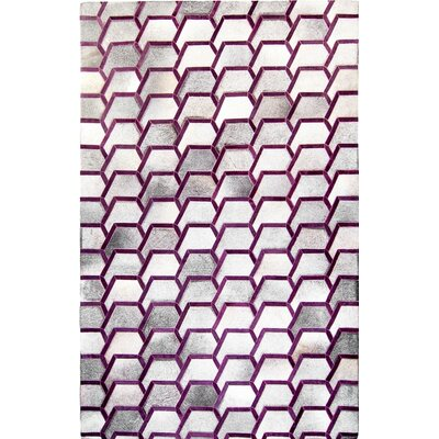 One-of-a-Kind Houghton-le-Spring Hand-Woven Cowhide Gray/Purple Area Rug Rug Size: Rectangle 9 x 12
