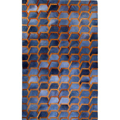 One-of-a-Kind Houghton-le-Spring Hand-Woven Cowhide Charcoal/Blue Area Rug Rug Size: Rectangle 5 x 8