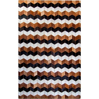 One-of-a-Kind Columbard Hand-Woven Cowhide Brown/Black Area Rug Rug Size: Rectangle 8 x 10