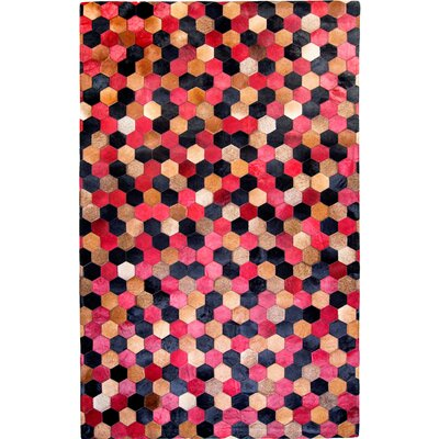 One-of-a-Kind Hosford Hand-Woven Cowhide Red/Black Area Rug Rug Size: Rectangle 5 x 8