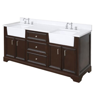Zelda 72 Double Bathroom Vanity Set Base Finish: Chocolate