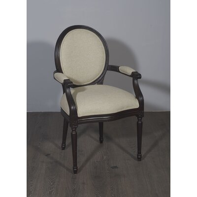 Kherodawala Armchair Upholstery: Begie, Finish: Dark walnut