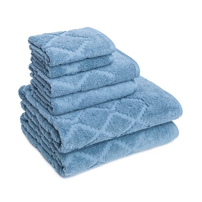 Thoman Diamond Textured 6 Piece Towel Set Color: Citadel Blue