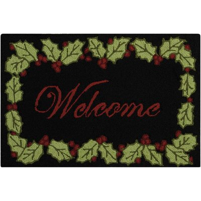 Doyal Hand-Tufted Black/Green Area Rug