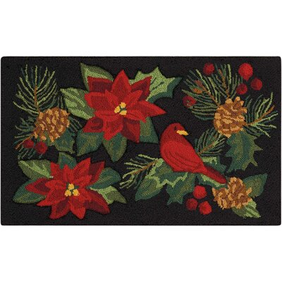 Doyal Hand-Tufted Black/Red Area Rug