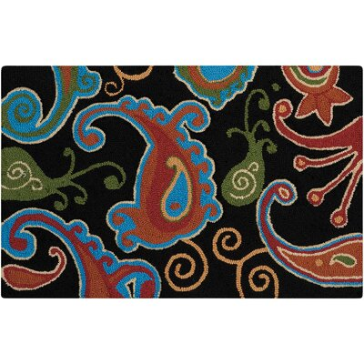 Frieda Hand-Tufted Black/Red Area Rug