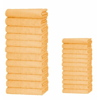 Graziano 100% Cotton 24 Piece Towel Set Color: Orange