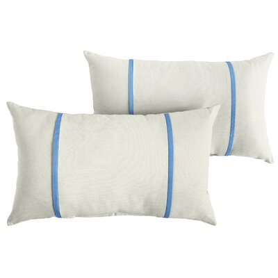 Churchton Sunbrella Indoor/Outdoor Lumbar Pillow Color: White/Capri