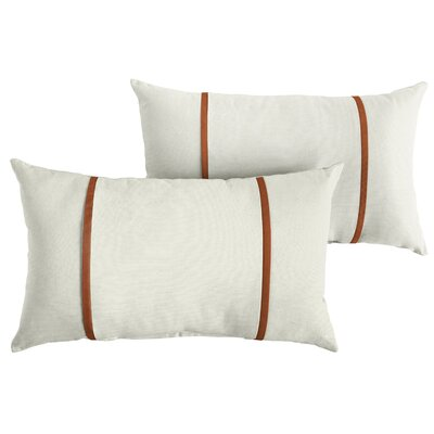 Churchton Sunbrella Indoor/Outdoor Lumbar Pillow Color: White/Rust