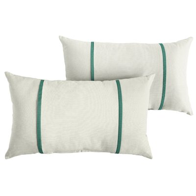 Churchton Sunbrella Indoor/Outdoor Lumbar Pillow Color: White/Teal
