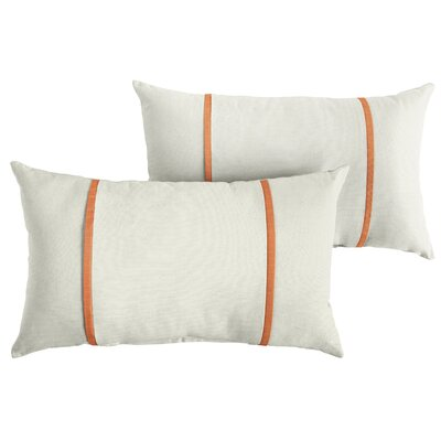 Churchton Sunbrella Indoor/Outdoor Lumbar Pillow Color: White/Tangerine