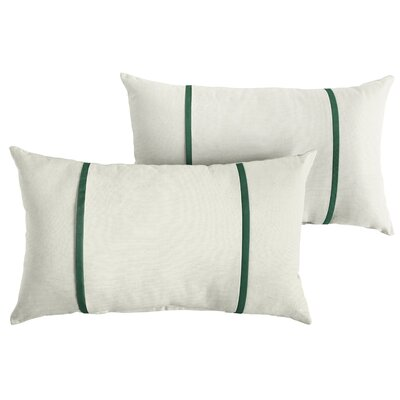 Churchton Sunbrella Indoor/Outdoor Lumbar Pillow Color: White/Forest Green