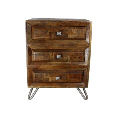 Crump Solid Wood 3 Drawer Nightstand