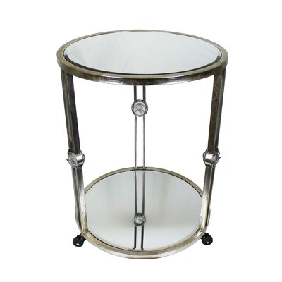 Kropf Round Mirror Metal End Table with Wheels