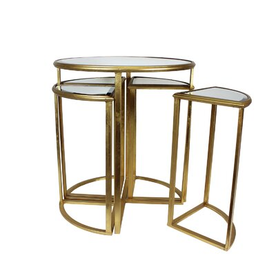 Markita Round Mirror End Table with 4 Chairs