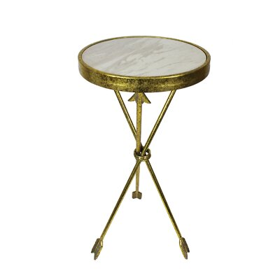 Crosstown Arrow Marble Round End Table