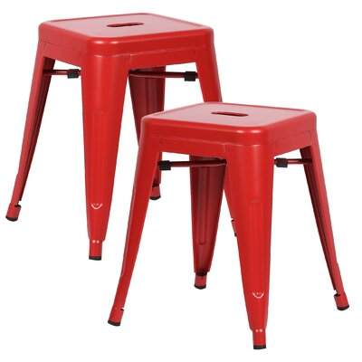 Alyssa 18 Bar Stool Color: Red
