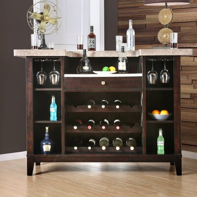 DAmato Transitional Bar Table Top with Wine Storage