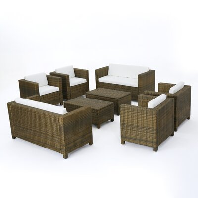 Kight Outdoor Rattan Sofa Seating Group Water Resistant Cushions