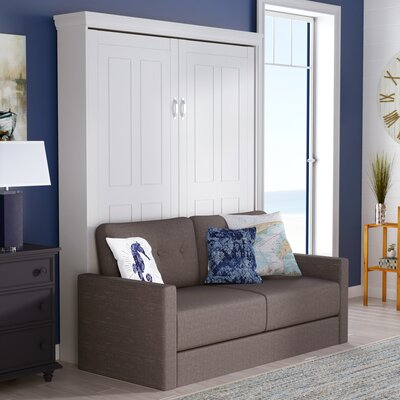 Sunset Dune Queen Upholstered Murphy Bed Frame Color: Antique White, Headboard Color: Heather Tweed